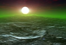 Krater op een maan met een zon die omhoog erachter komen uit Stock Afbeelding