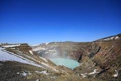 Krater, Teil von Vulkan Aso San Lizenzfreie Stockfotografie