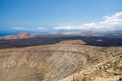Krater van Calderablanca, oude vulkaan in Lanzarote, Canarische Eilanden Spanje Royalty-vrije Stock Afbeeldingen