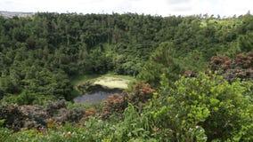 Krater van vulkaan in Mauritius stock videobeelden
