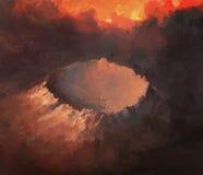 Krater w nocy pod oparzenie niebem ilustracja wektor