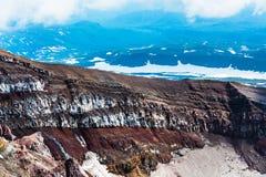 Krater wulkan Goreliy na Kamchatka, Rosja Zdjęcia Stock