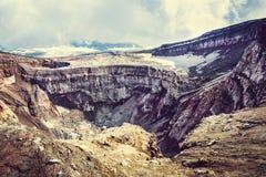 Krater wulkan Goreliy na Kamchatka, Rosja Obraz Stock