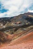 Kraters en lavabloem op Onderstel Etna stock afbeelding