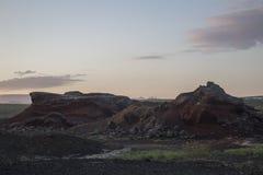 Kratersgebied dichtbij Reykjavik Stock Foto