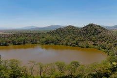 Krateru Jeziorny sceniczny krajobraz w Afryka Obraz Royalty Free