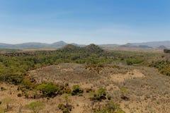Krateru Jeziorny sceniczny krajobraz w Afryka Fotografia Stock
