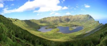 Krateru Vulkan Azores Corvo wyspa Zdjęcia Royalty Free