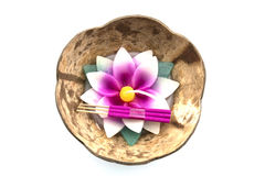 Krathong coconut shell with banana leaves for Loykrathong festival in Bangkok Thailand , Isolated on White Background Royalty Free Stock Photo