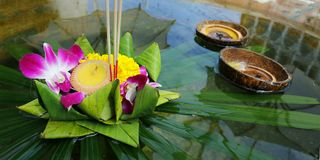 Krathong ,hand crafted floating basket by banana leaf,decorated with flowers and incense sticks, candle, Royalty Free Stock Image