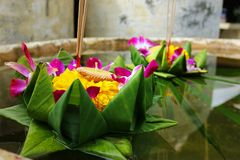 Krathong ,hand crafted floating basket by banana leaf,decorated with flowers and incense sticks, candle, Royalty Free Stock Photo