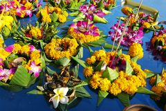 Krathong ,hand crafted floating basket by banana leaf,decorated with flowers and incense sticks, candle, Stock Images