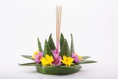 Krathong, la candela di galleggiamento elaborata mano fatta della parte di galleggiamento Fotografia Stock Libera da Diritti