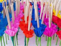 Krathong oder sich hin- und herbewegender Korb, Loy-krathong Festival, Weihrauch, Ca Lizenzfreie Stockbilder