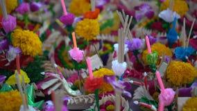 Krathongs для фестиваля Loykrathong в Таиланде сток-видео