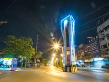 KrathumBaen alla notte in Tailandia fotografia stock libera da diritti