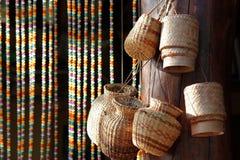 Bamboo wooden rice box for sticky rice. Kratib, bamboo wooden rice box for sticky rice Royalty Free Stock Photo