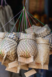 Kratip, bamboo basket for lunch box in Thailand.  stock photos