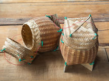 Kratip bamboo textile, sticky rice container Stock Image