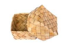 Kratip-Palmblattgewebe, Behälter des klebrigen Reises Stockbild