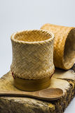 Kratip or Wicker, bamboo container rice. Stock Image