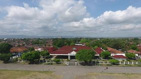 Kraton Yogyakarta Aerial View. This place was located in Yogyakartaa. If you visit this place, you may meet some tourism place, and have historic story and it`s stock footage