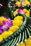 Kratong made from banana leaves and flowers. Stock Images