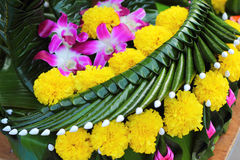Kratong made from banana leaves and flowers. Stock Image