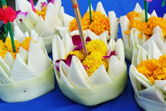 Kratong made from banana leaves and flowers. Royalty Free Stock Photo