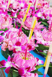 Kratong made from banana leaves and flowers. Royalty Free Stock Photos