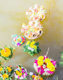 Kratongs by Kindergarten children for Loy Kratong Festival in Thailand. Kratongs by Kindergarten school children float in pond for Loy Kratong Festival in Royalty Free Stock Photography