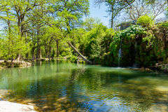 Krause Springs. Spicewood, Texas USA - April 5, 2016: Krause Springs is a popular tourist destination with camping and swimming activities in the Texas Hill stock image
