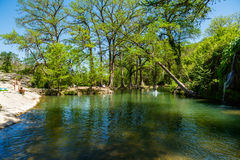 Krause Springs. Spicewood, Texas USA - April 5, 2016: Krause Springs is a popular tourist destination with camping and swimming activities in the Texas Hill royalty free stock photography