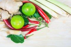 Kraut und würzige Bestandteile für die Herstellung des thailändischen Lebensmittels auf hölzernem backgrou Lizenzfreies Stockbild