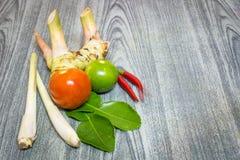 Krautsatz von Tom Yum Soup Ingredients für thailändisches Lebensmittel Stockfoto