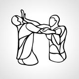 Krav maga silhouettes. Two abstract fighters pictogram. Fighters of krav maga. Sport club emblem. Streetfighters. Vector illustration Royalty Free Stock Image