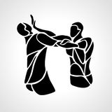 Krav maga silhouettes. Two abstract fighters pictogram. Fighters of krav maga. Sport club emblem. Streetfighters. Vector illustration Stock Photo