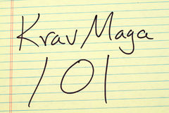 Krav Maga 101 On A Yellow Legal Pad. The words `Krav Maga 101` on a yellow legal pad Stock Images