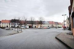 2016-03-06 - Kravare, Tsjechische republiek - vierkant in een klein dorp Kravare Stock Foto's