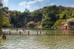 Kravice-Wasserfälle lizenzfreies stockbild