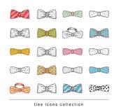 Krawatów i łęków krawatów doodle wektor Zdjęcie Royalty Free