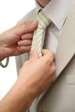 krawat tła rąk jest odizolowana kobieta Obraz Stock