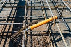 Krawata rebar promienia klatka na budowie Stalowy wzmacnia bar dla zbrojonego betonu zdjęcia stock