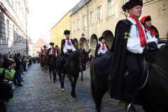 Krawatten-Regiment an einer Zeremonie, die den Tag der Bindung markiert Lizenzfreie Stockbilder