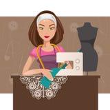 Krawcowej kobieta również zwrócić corel ilustracji wektora Obraz Royalty Free