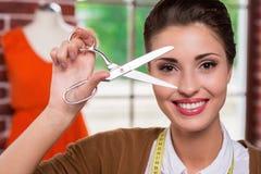 Krawczyna z nożycami zdjęcia royalty free