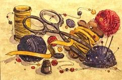 Krawczyny set Malować mokrą akwarelę na papierze Naiwna sztuka Rysunkowa akwarela na papierze ilustracja wektor