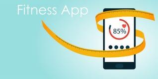 Krawczyny tipe wokoło mądrze telefonu, sprawności fizycznej app pojęcie Obrazy Royalty Free