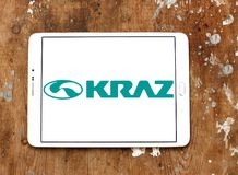 KrAZ trucks manufacturer logo. Logo of KrAZ trucks manufacturer on samsung tablet. KrAZ is a Ukrainian factory that produces trucks and other special-purpose Stock Image
