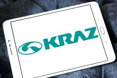 KrAZ trucks manufacturer logo. Logo of KrAZ trucks manufacturer on samsung tablet. KrAZ is a Ukrainian factory that produces trucks and other special-purpose Stock Photography